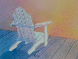 """""""Aglow"""" watercolor of a adirondack chair on a dock at sunset."""