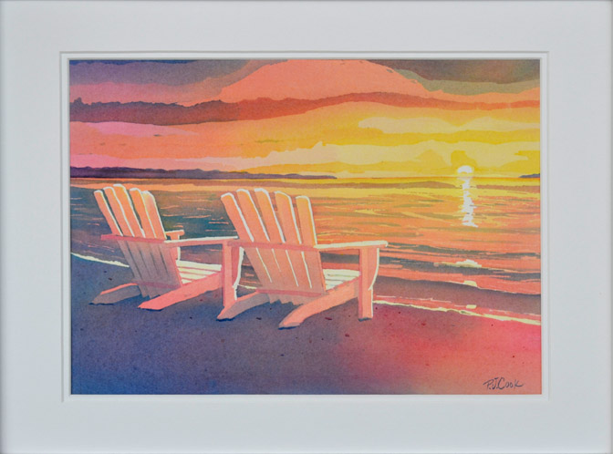 Adirondack chairs on beach sunset Canvas Prints Sunset Painting Original Art Landscape Of Adirondack Chairs On The Beach Pj Cook Artist Studio Sunset Painting Original Art Landscape Beach Adirondack Chair