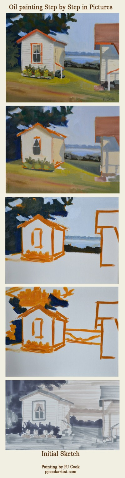 guest cabin oil painting step by step