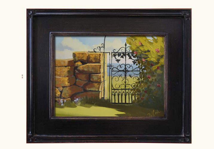 """""""The Gate"""" 8x10 oil on gessoboard, ©2015 PJ Cook."""