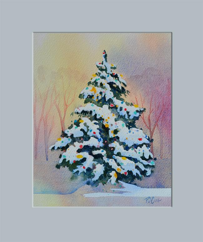 Christmas tree snow scene, original winter scene watercolor