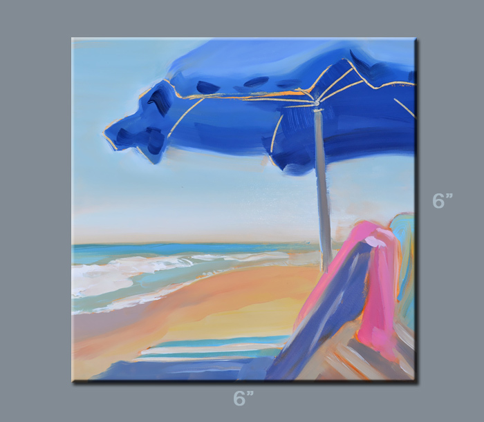 beach umbrella oil painting, ft lauderdale beach, artist PJ Cook