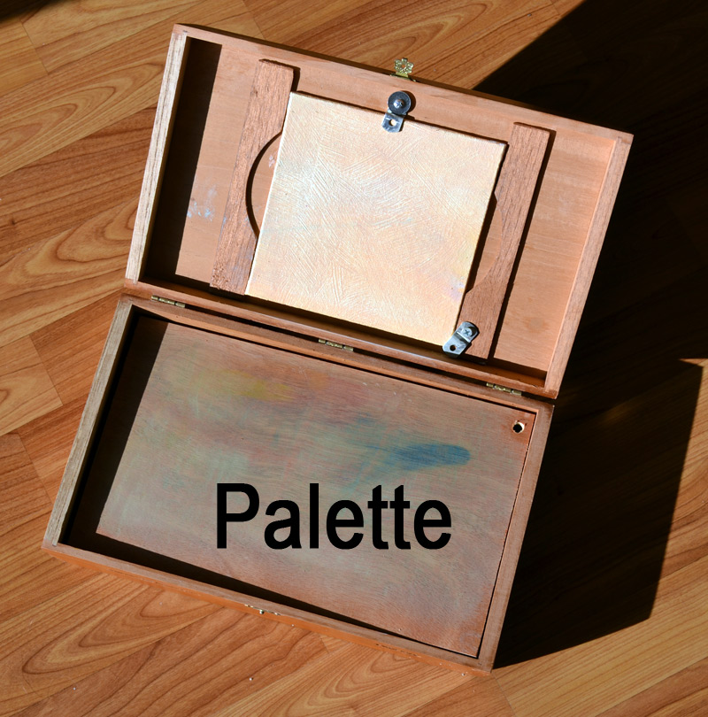 palette area for mixing oil paint