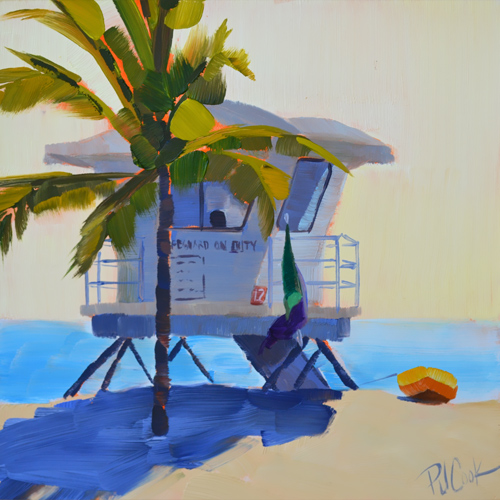 ft lauderdale beach lifeguard station on duty oil painting