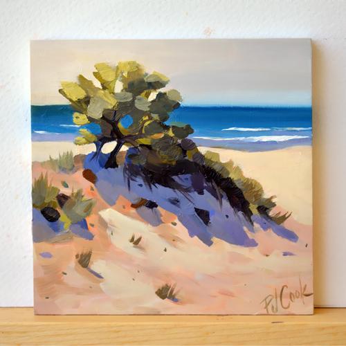ocean sand dune waves oil on panel original by PJ Cook