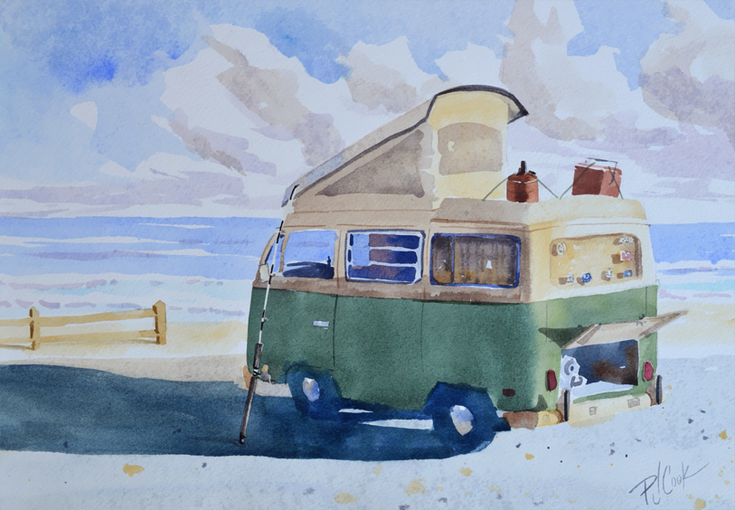Old VW Bus Camper At the Beach