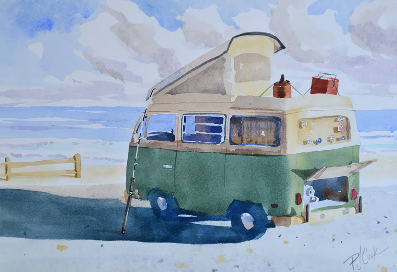 old vw camper van at the beach with fishing rod original watercolor by PJ Cook