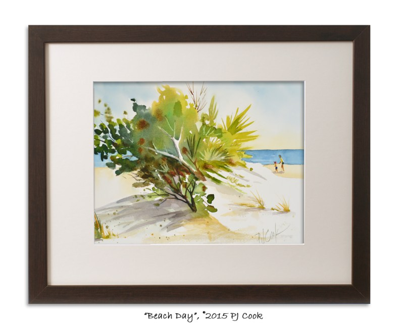 beach painting with 2 people includes trees, palms,shrubs, grass