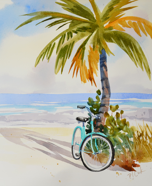 Beach Zen watercolor painting of a bicycle, palm tree, ocean waves, and the beach.