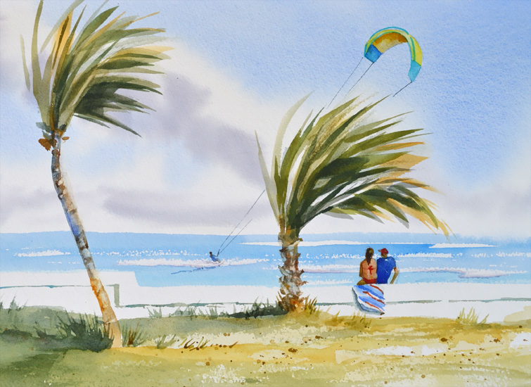 kiteboarding painting, beach, ocean, palm trees are featured in this original art by PJ Cook.