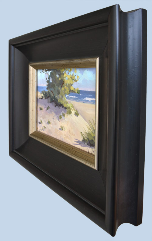 impressionism oil painting of sand dunes and an ocean view by PJ Cook.