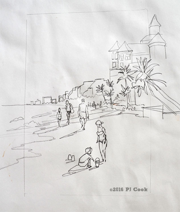 sketching Ft Lauderdale Beach on a Saturday afternoon.