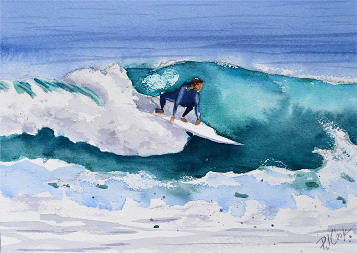 surfing, florida, watercolor