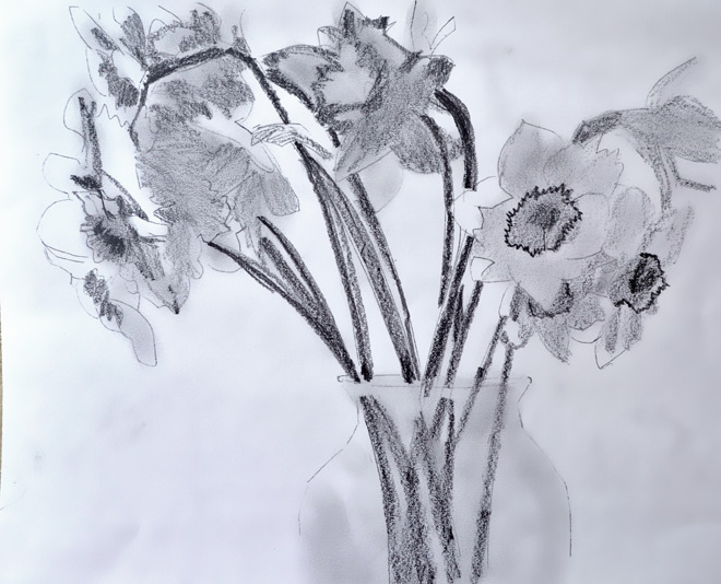 daffodils-drawing pencil sketch of flowers in glass vase