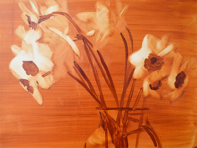 daffodils-under-painting oil on panel #wip