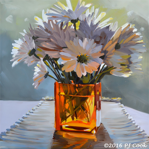 Morning Daisies Oil Painting