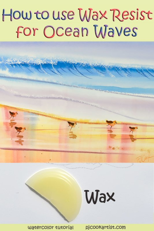 how to use wax resist to paint ocean waves in watercolor.