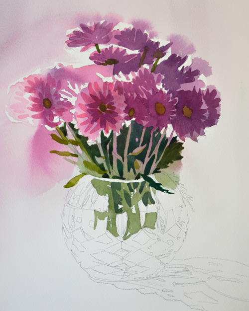 work in progress of crystal vase with violet flowers watercolor