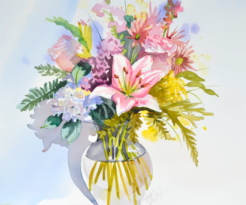 floral watercolor bouquet in clear glass vase