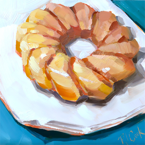"National Doughnut Day original oil painting of a donut ""Doughnut Day"", oil on panel, 6x6 ©2016 PJ Cook"