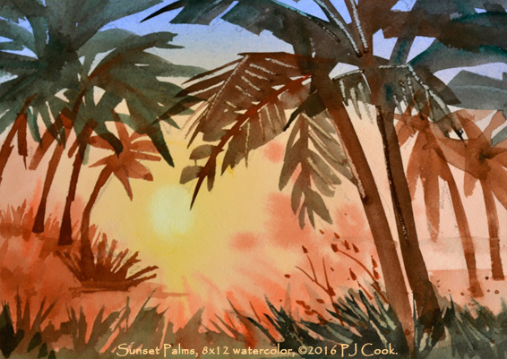Sunset Palms original painting 8x12 watercolor on paper ©2016 PJ Cook