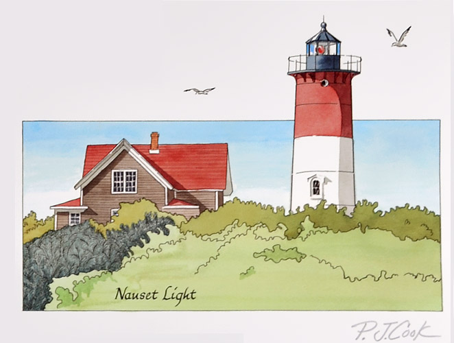 Nauset Lighthouse Cape Cod watercolor painting with pen and ink by PJ Cook.