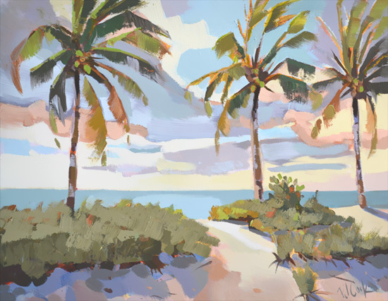 Morning Dunes, 11x14 oil on canvas features palm trees, sand dunes and the ocean.