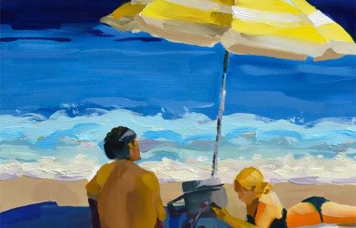 Beach Vibes, 8x8 oil on panel