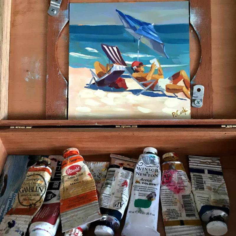 Ft Lauderdale Beach painting on location 6x6 oil on panel