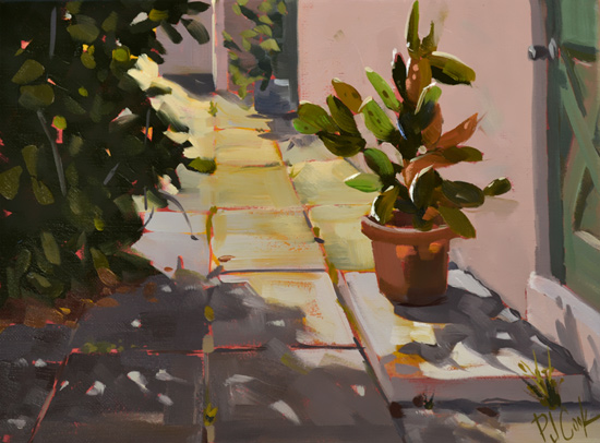 Morning Cactus, 9 x 12 oil on canvas