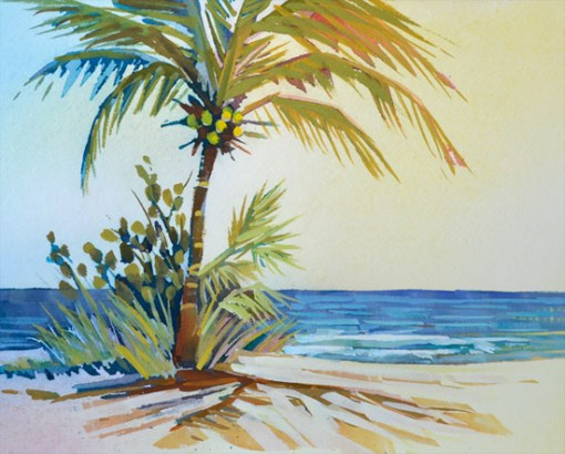 Palm View Ocean Painting 8 x 10 gouache painting by PJ Cook.