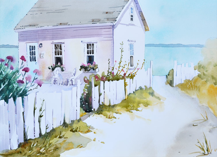 """Island Retreat, 14"""" x 20"""" watercolor is a beach cottage complete with flowers and picket fence."""