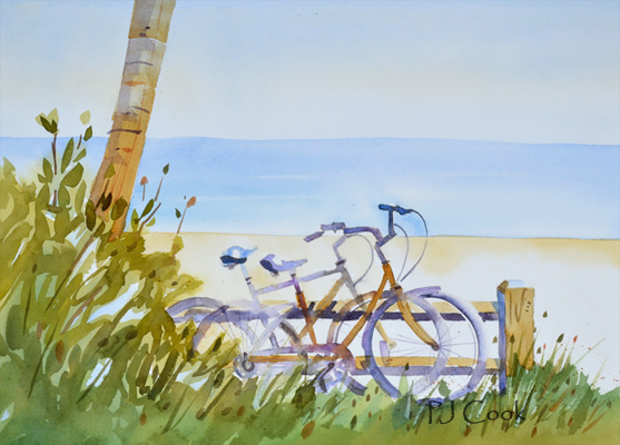 R and R, beach and bicycles watercolor painting, 9.5 x 13 inch.