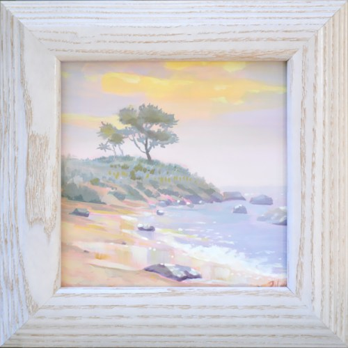 "Harkness Park Beach, 6 x 6"" oil on board, features a foggy sunrise from the beach, artist PJ Cook."