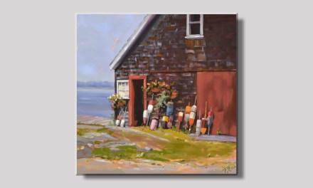 Seaside Maine Barn with Lobster Buoys Display
