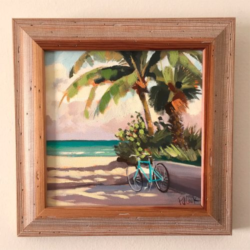 Aqua beach bicycle and palm trees featured in 6x6 oil painting.