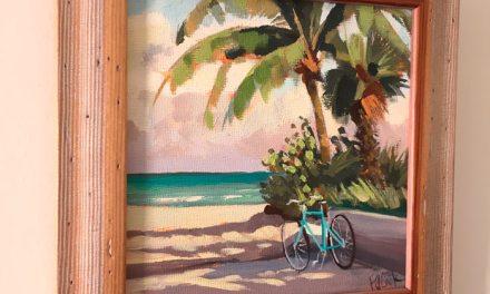 Aqua Beach Cruiser with Palms Oil Painting
