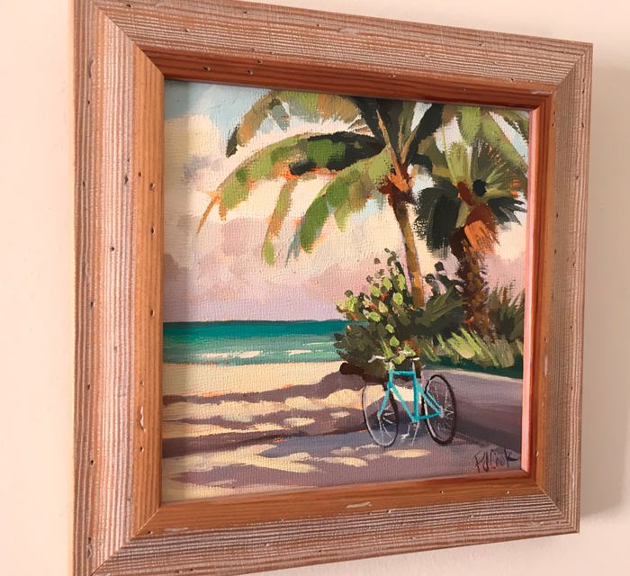 Aqua Beach Cruiser with Palms Oil Painting