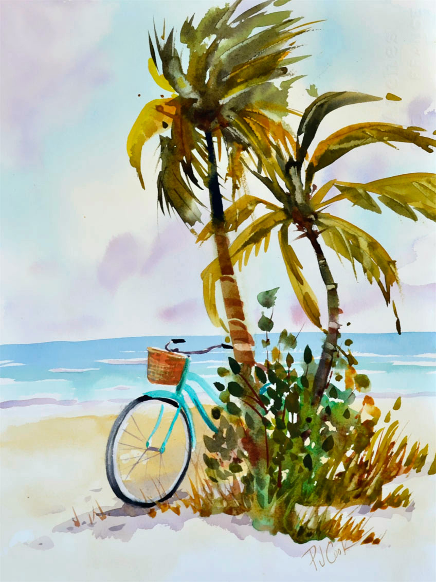 Aqua bicycle with Palm Trees, 14 x 10 watercolor featuring the beach and ocean.
