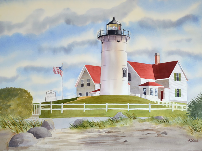 "Cape Cod Lighthouse watercolor, 18"" x 24"" original on paper."