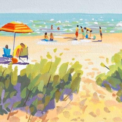 Beachscape Painting, 5x7 gouache on paper. ©2018 PJ COOK.
