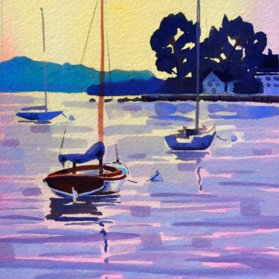 Boats Moored at Watch Hill, 5x7 watercolor ©2018 PJ Cook.