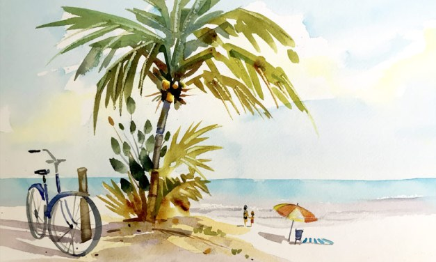 How to Paint a Palm Tree Beach Scene-A Watercolor Lesson
