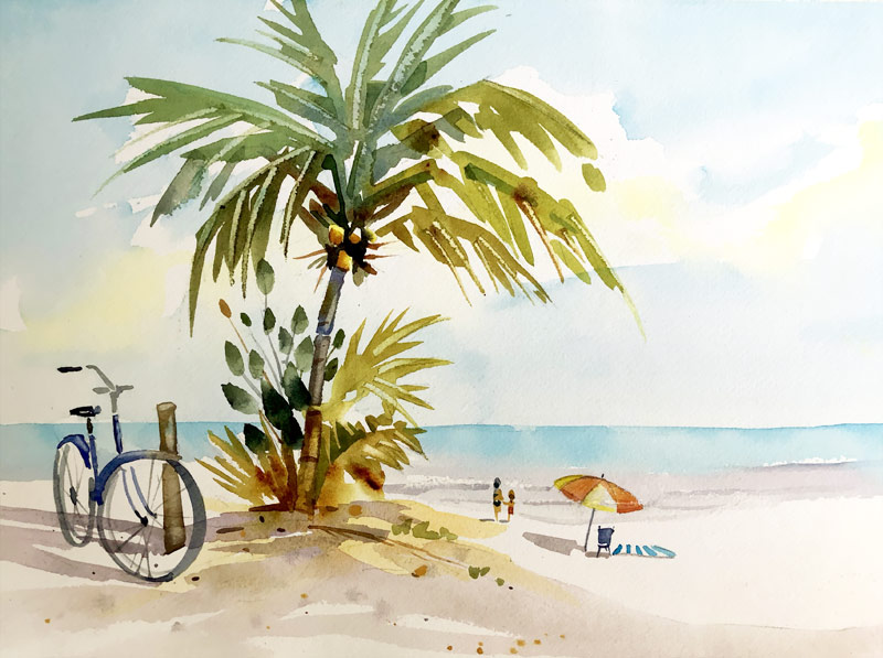 Palm tree with bicycle watercolor painting tutorial.