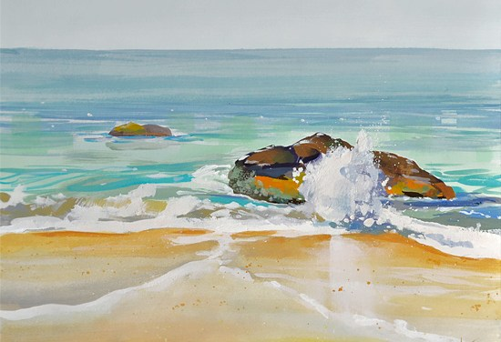 gouache beach painting