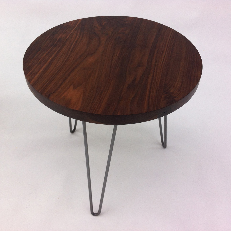 Round Walnut Mid Century Modern Side Tables ...