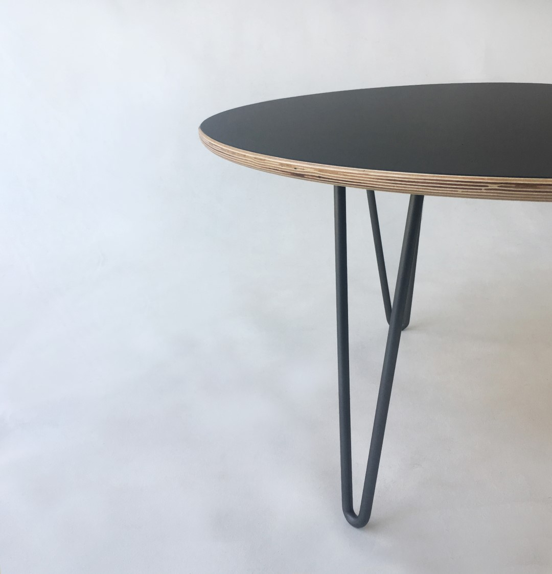 MidCentury Modern Black Laminate Yin Yang Round Nesting Coffee Table - Round nesting cocktail table