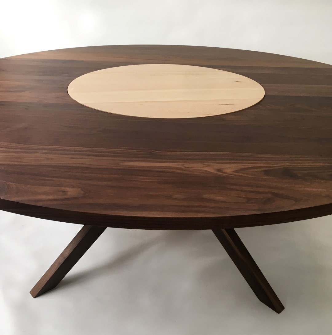Round Dining Room Tables For 12: Modern Solid Walnut Round Dining Table With Maple Lazy Susan