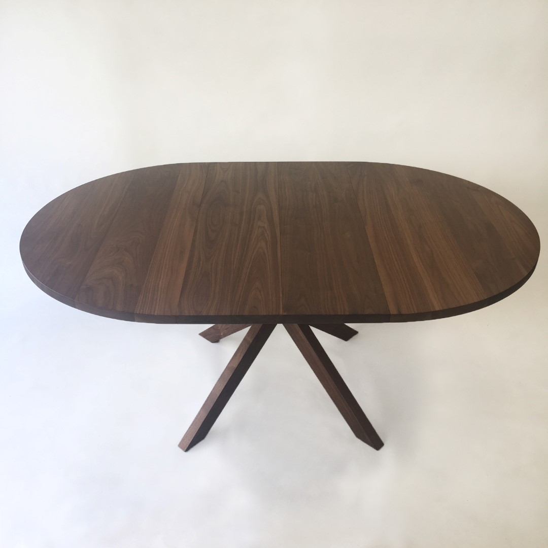 modern solid walnut round expandable dining table