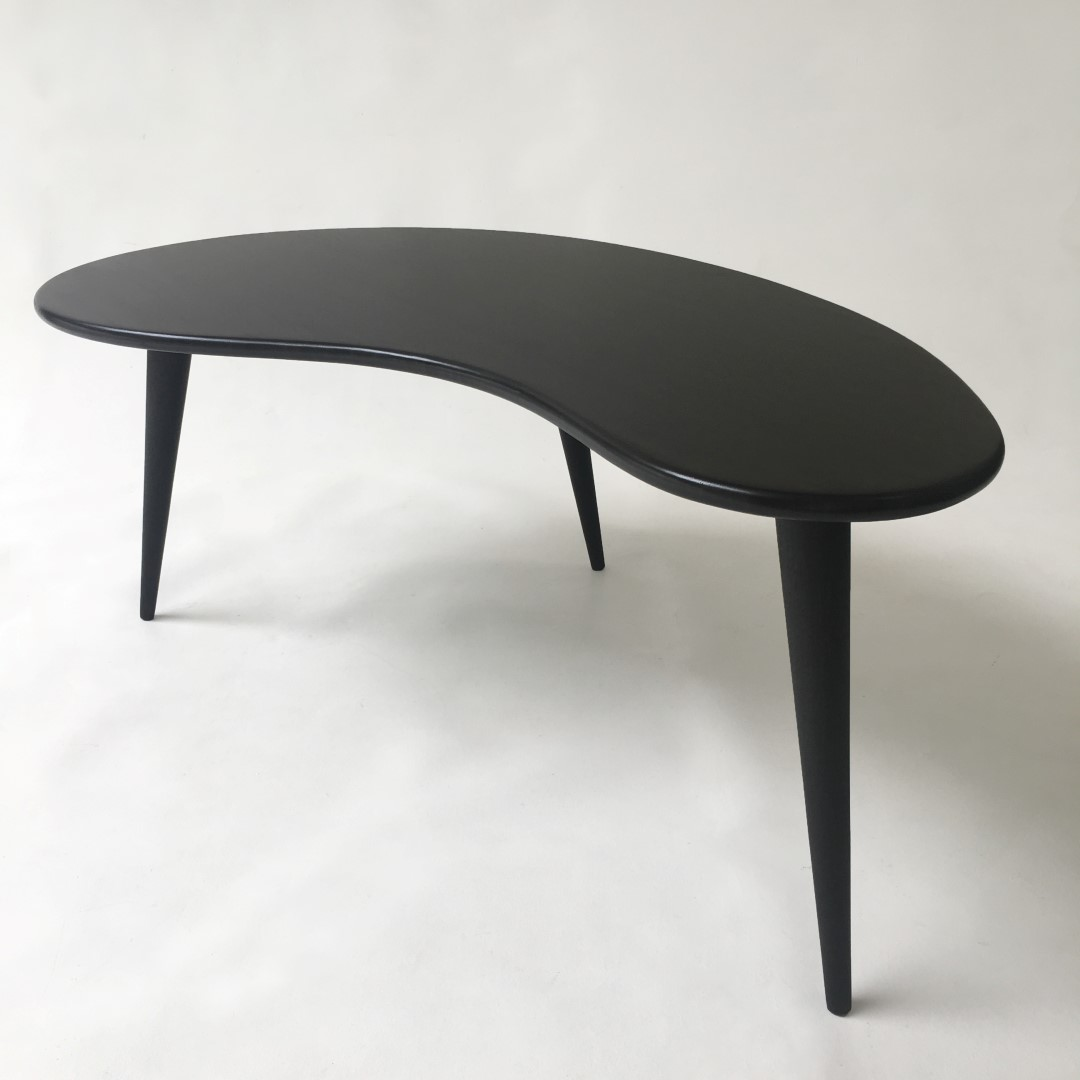 Black Mid Century Modern Coffee Table With Tapered Legs